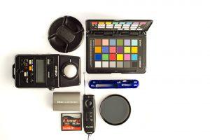 Accessoires photos, batterie, flashmetre, gamme de gris, télécommande à distance, filtre, lecteur de carte